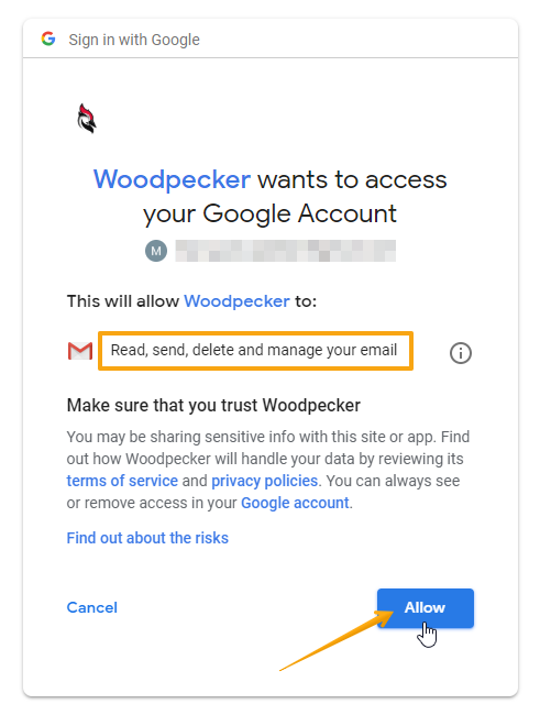 Image with access screen from Google Account which allows Woodpecker to connect to it