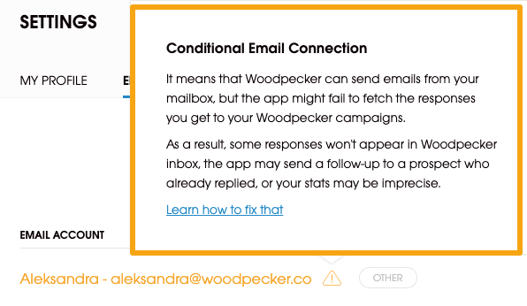 Image with description of conditional email connection