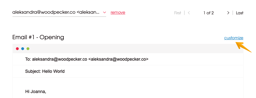 Image with arrow poiting to a customize option for the first email
