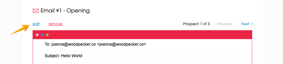 Image of an arrow poiting to the edit option of the opening email