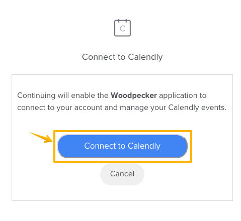 Image with arrow pointing at 'Connect to Calendly' button