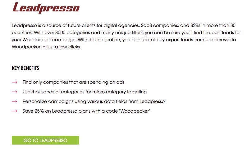 Description about Leadpresso and Woodpecker integration