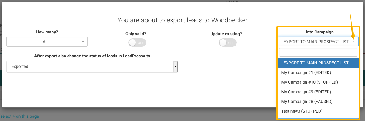 image with the drop-down menu from Leadpresso
