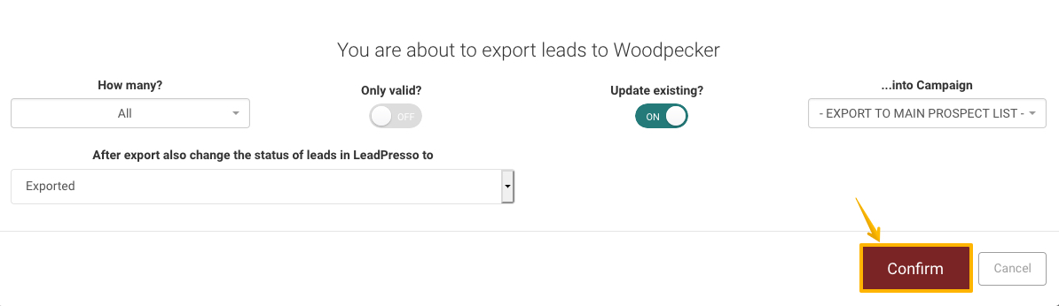 Image with arrow pointing to 'Confirm' button in Leadpresso