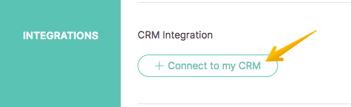 Image with arrow pointing to 'Connect to my CRM' button in UpLead