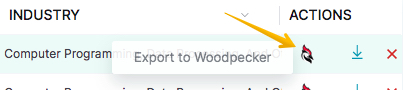 Image showing Woodpecker icon that allows user to export prospects to Woodpecker