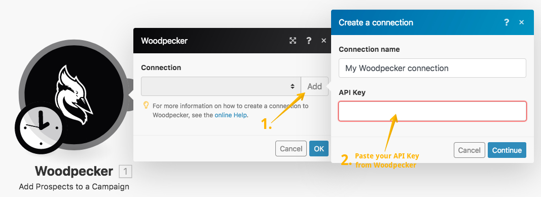 Image showing where to paste API Key from Woodpecker into Integromat