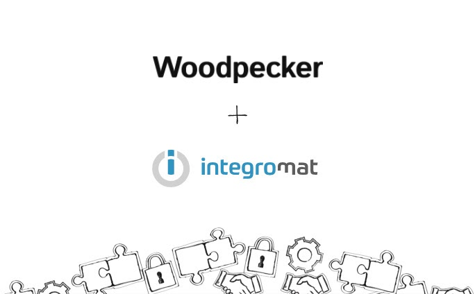 Image showing the Woodpecker and Integromat logo with a plus sign between them