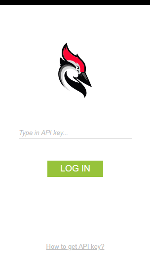 Log in page for the API Key from Woodpecker