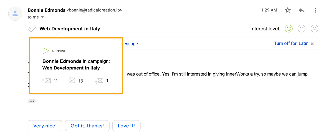 Screen showing notification in Gmail from the Woodpecker Chrome Extension