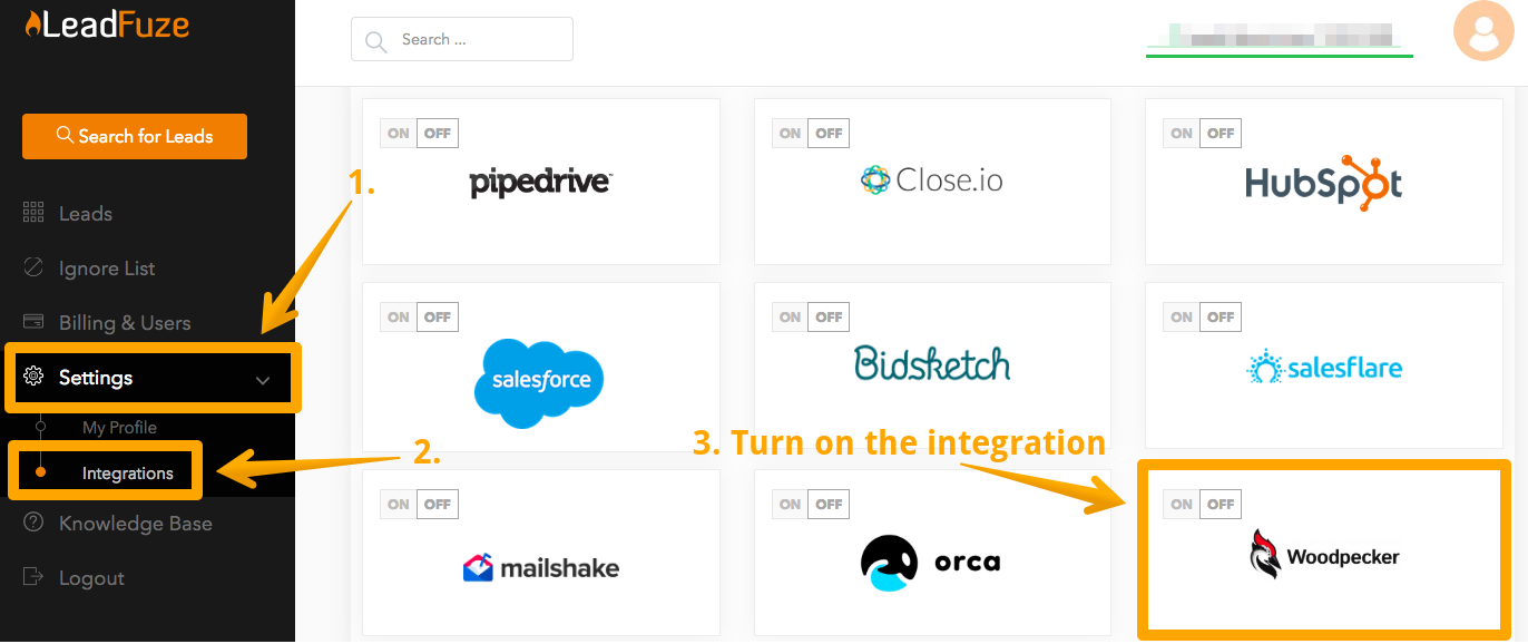 Screen showing step-by-step instruction how to turn on the integration with Woodpecker in LeadFuze