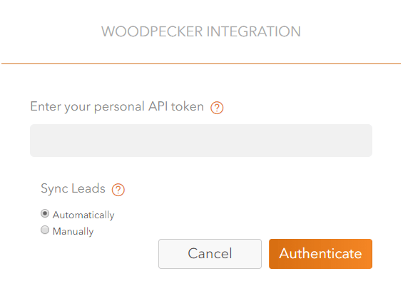 Screen showing the pop-up window for the API Key from Woodpecker