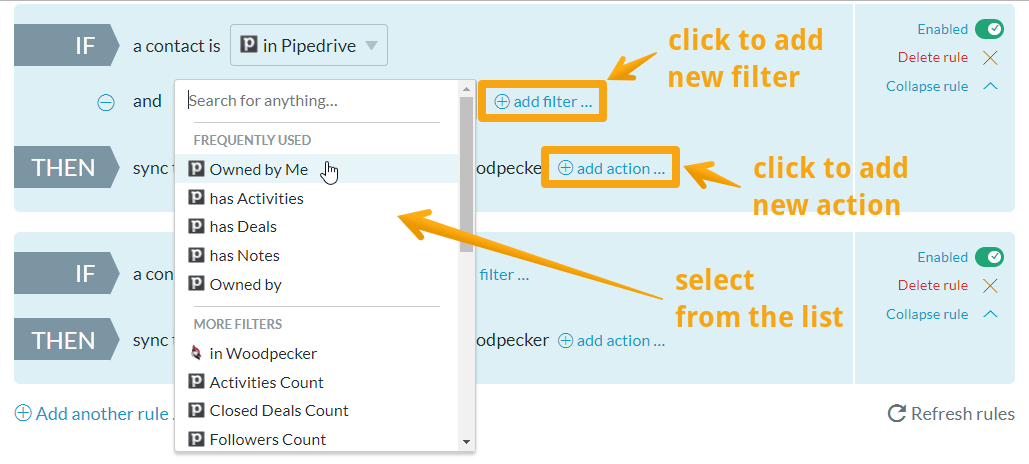 Add filters and actions