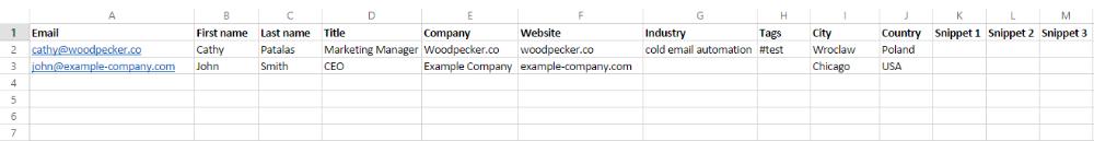 Example spreadsheet